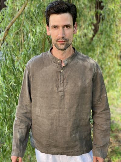 linen island. Льняная мужская рубашка серая. Вид 1.