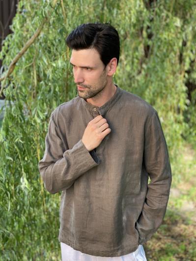 linen island. Льняная мужская рубашка серая. Вид 2.