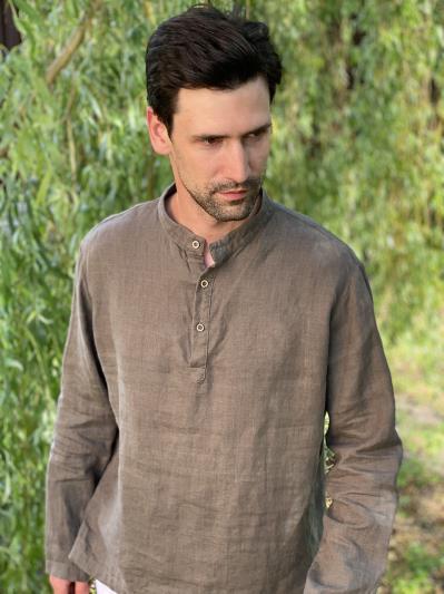 linen island. Льняная мужская рубашка серая. Вид 3.