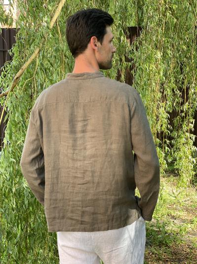 linen island. Льняная мужская рубашка серая. Вид 4.