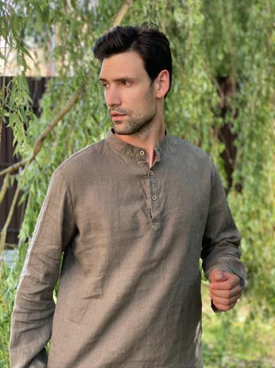 linen island. Льняная мужская рубашка серая. Вид 5.