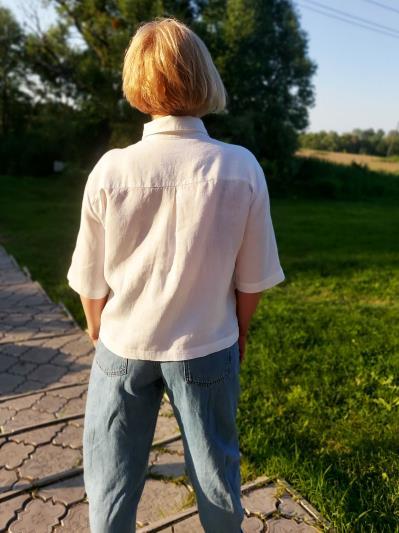 Фото товара: лляна сорочка біла. Вид 4.