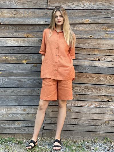 linen island. Лляна сорочка з розрізами помаранчева. Вид 2.