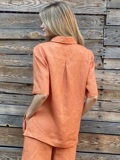 linen island. Лляна сорочка з розрізами помаранчева. Вид 3.