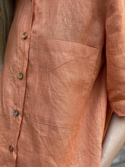linen island. Лляна сорочка з розрізами помаранчева. Вид 4.