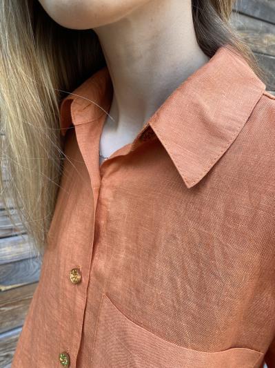 linen island. Лляна сорочка з розрізами помаранчева. Вид 5.