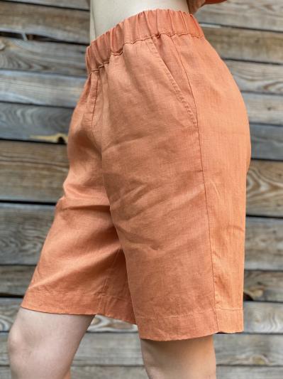 Фото товара: лляні шорти тіффані помаранчеві. Вид 2.