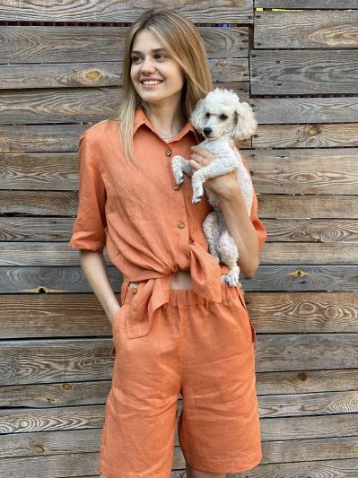 Фото товара: лляні шорти тіффані помаранчеві. Вид 3.