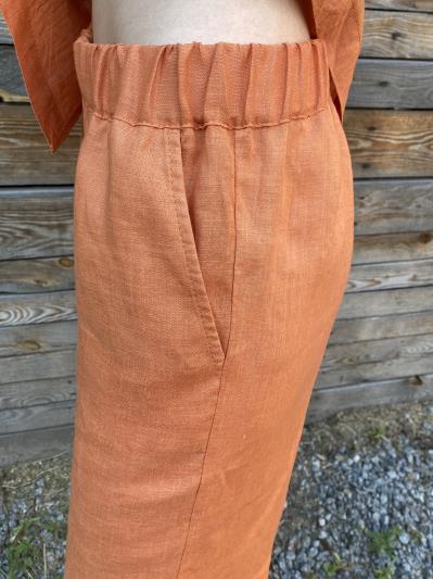 Фото товара: лляні шорти тіффані помаранчеві. Вид 4.