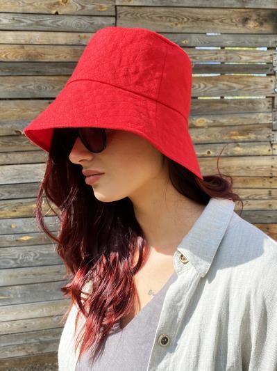 Фото товара: лляна жіноча панама червона. Вид 4.