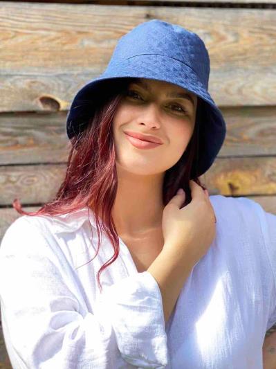 Фото товара: лляна жіноча панама темно-синя. Вид 4.
