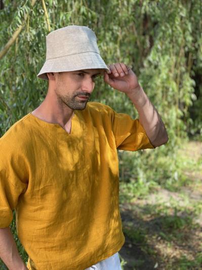linen island. Лляна панама унісекс натуральний колір екрю. Вид 3.
