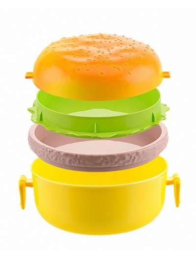 Брендовый ланч-бокс гамбургер желтый. Фото товара, вид 2