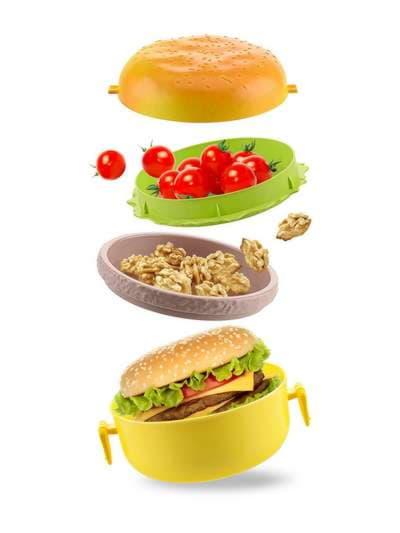 Брендовый ланч-бокс гамбургер желтый. Фото товара, вид 3