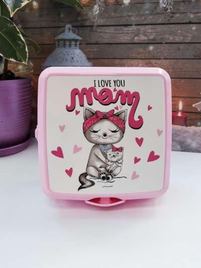Модный ланч-бокс i love you mom розовый. Фото товара, вид 1