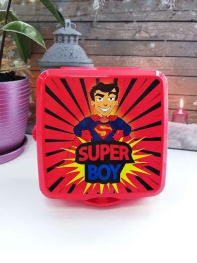 Стильний ланч-бокс super boy червоний. Фото товару, вид 1