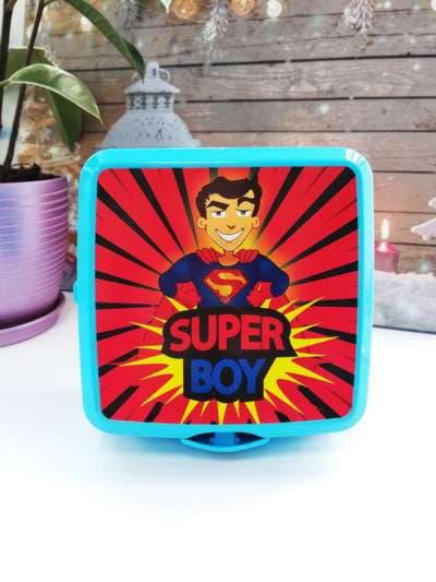 Модный ланч-бокс super boy синий. Фото товара, вид 1