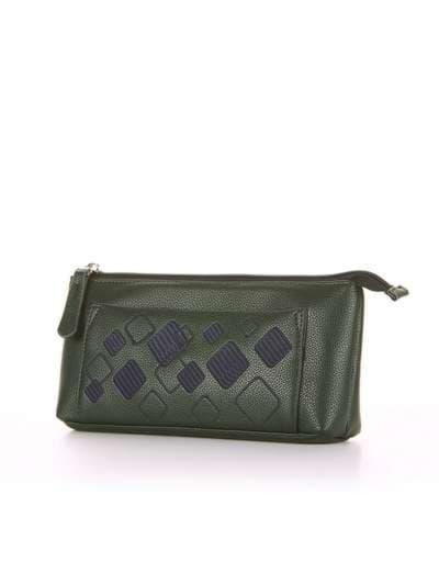 Модная косметичка, модель 503 темно-зеленый. Фото товара, вид сбоку.