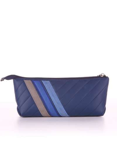Модная косметичка-пенал, модель 542 синий. Фото товара, вид сзади.