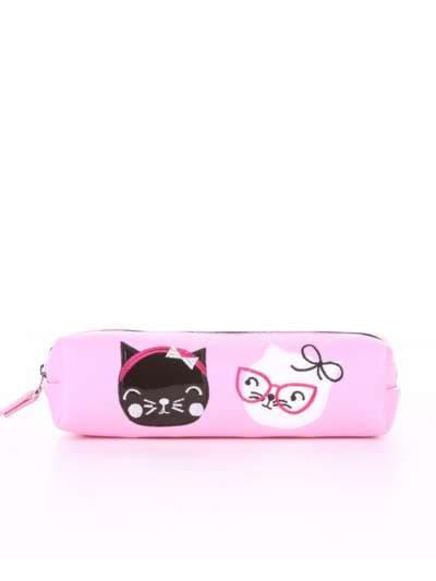 Брендовый пенал, модель 576 розовый. Фото товара, вид спереди.