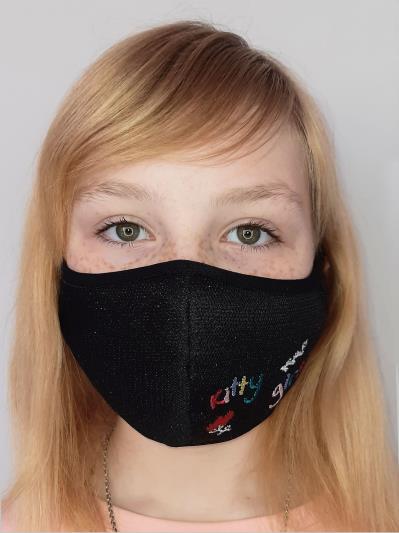 alba soboni. Дитяча маска двошарова 004 чорний. Вид 1.