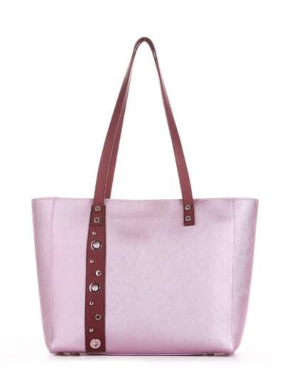 Стильна сумка, модель 191682 рожевий-перламутр. Фото товару, вид спереду.