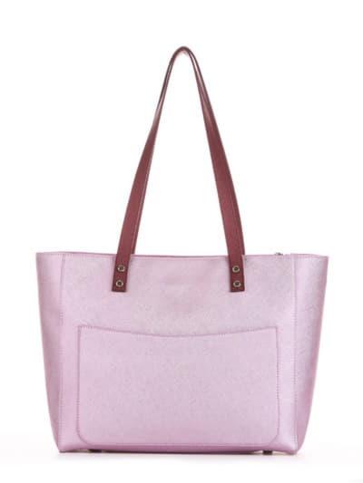 Стильна сумка, модель 191682 рожевий-перламутр. Фото товару, вид ззаду.