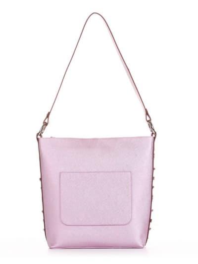 Стильна сумка, модель 191692 рожевий-перламутр. Фото товару, вид спереду.