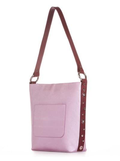 Стильна сумка, модель 191692 рожевий-перламутр. Фото товару, вид збоку.