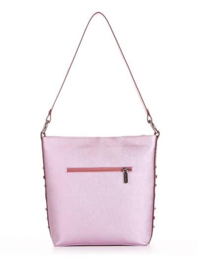 Стильна сумка, модель 191692 рожевий-перламутр. Фото товару, вид ззаду.