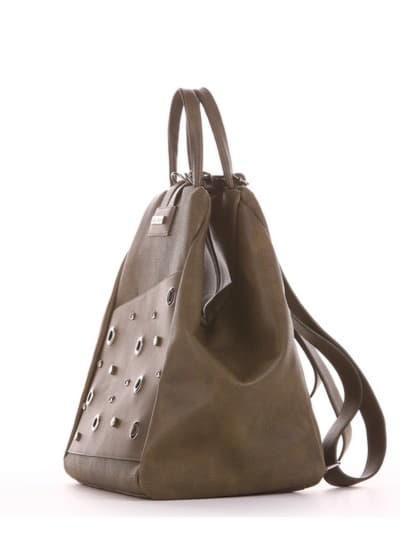 Шкільна сумка - рюкзак, модель 191594 хакі. Фото товару, вид збоку.