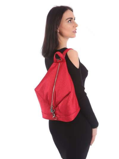 Женский рюкзак, модель 180023 красный. Фото товара, вид сбоку.