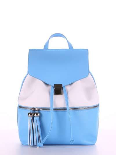 Стильный рюкзак, модель 180052 голубой-белый. Фото товара, вид спереди.