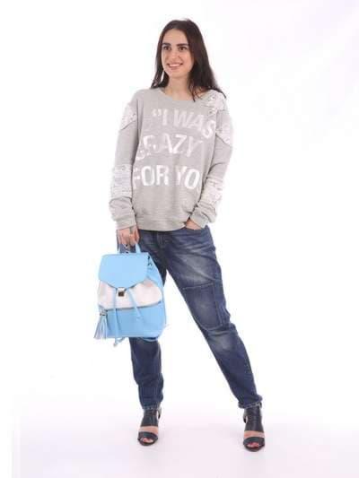 Стильный рюкзак, модель 180052 голубой-белый. Фото товара, вид сбоку.