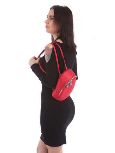 Літній міні-рюкзак, модель 180033 червоний. Фото товару, вид збоку.
