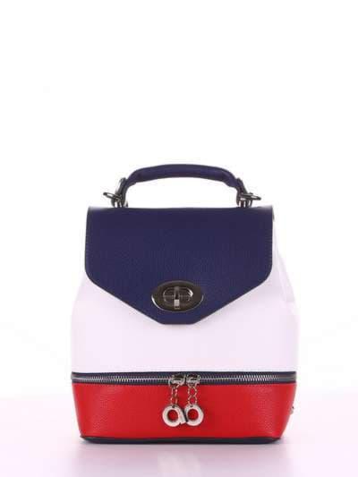 Летний мини-рюкзак, модель 180061 синий-белый. Фото товара, вид спереди.