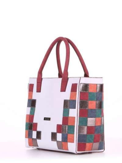 Летняя сумка, модель 180081 белый. Фото товара, вид сбоку.