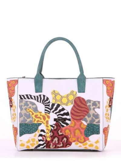 Летняя сумка, модель 180082 белый. Фото товара, вид спереди.