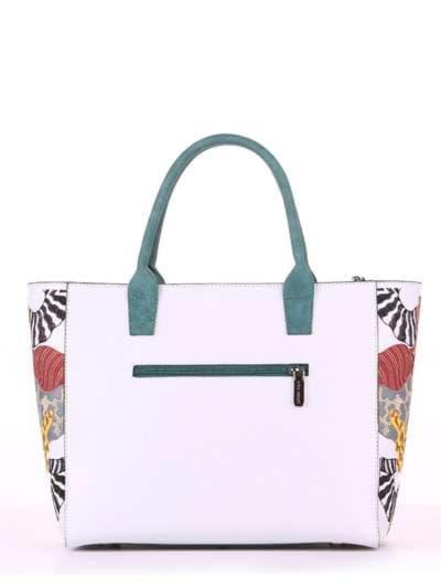 Летняя сумка, модель 180082 белый. Фото товара, вид сзади.