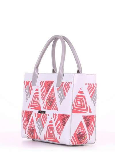 Летняя сумка, модель 180083 белый. Фото товара, вид сбоку.