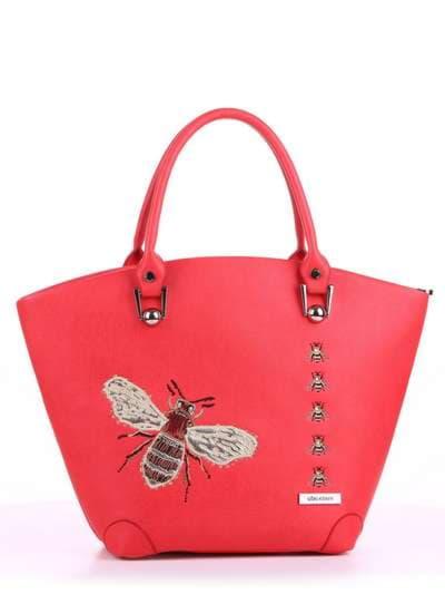 Летняя сумка, модель 180162 красный алый. Фото товара, вид спереди.