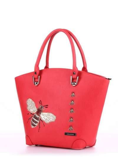 Летняя сумка, модель 180162 красный алый. Фото товара, вид сзади.