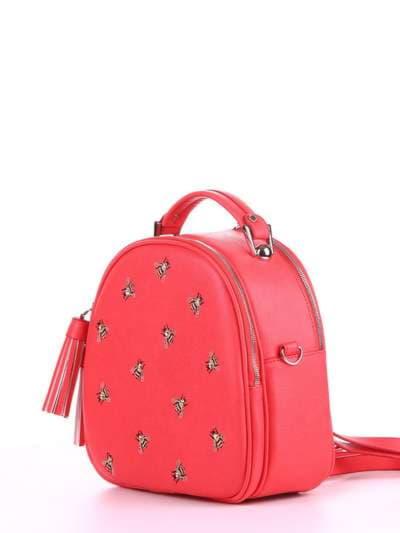 Модная сумка, модель 180172 красный алый. Фото товара, вид сзади.