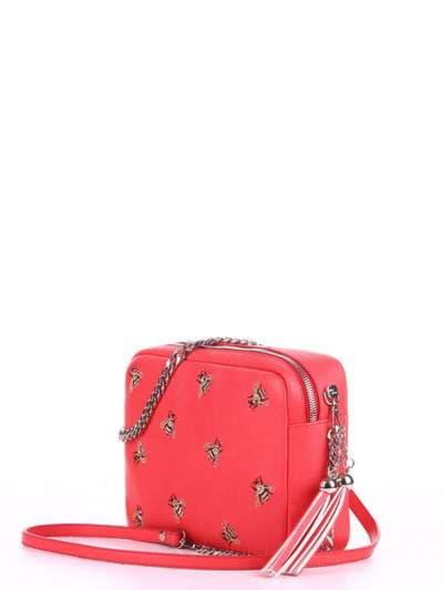 Модная сумка, модель 180182 красный алый. Фото товара, вид сбоку.