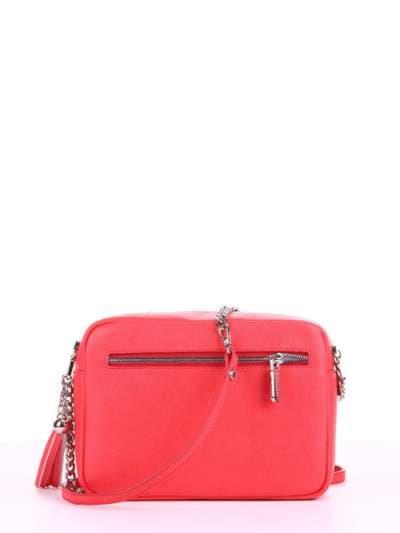 Модная сумка, модель 180182 красный алый. Фото товара, вид сзади.