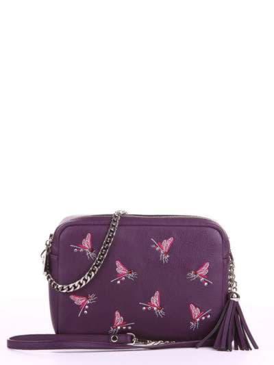 Модная сумка, модель 180183 баклажан. Фото товара, вид спереди.