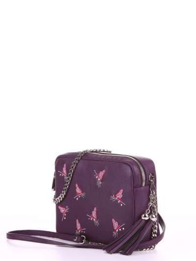 Модная сумка, модель 180183 баклажан. Фото товара, вид сбоку.