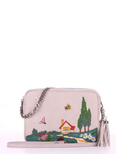 Модная сумка, модель 180184 св. серый. Фото товара, вид спереди._product-ru