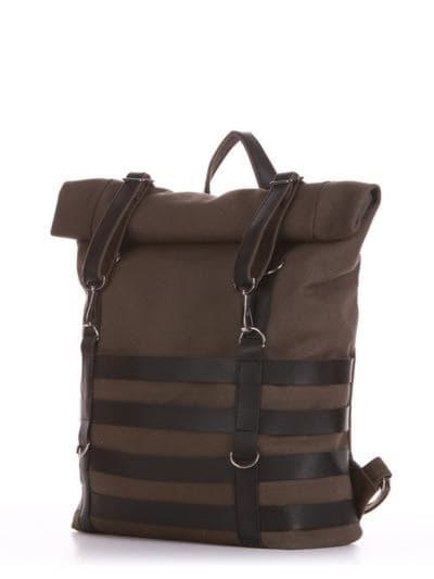 Женский рюкзак, модель 190185 хаки. Фото товара, вид сбоку.