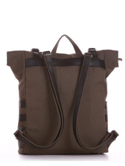 Женский рюкзак, модель 190185 хаки. Фото товара, вид сзади.